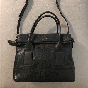 Kate Spade Black Leather Fold-Over Large Tote
